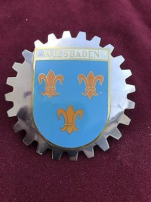 Vintage NOS Grille Badge Wiesbaden Rare! German Or Put On French Cars Germany