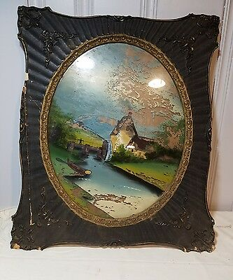 Vintage 25 x 22 Picture Frame with painted glass