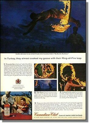 1963 Ring-of-Fire leap in Turkey - Canadian Club whisky photo-ad