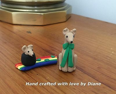 Miniature Hand Crafted Polymer Clay Irish Greyhound or Whippet & Fiend