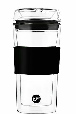 ioco Hardened Glass Tea & Coffee traveller mug travel eco cup with lid