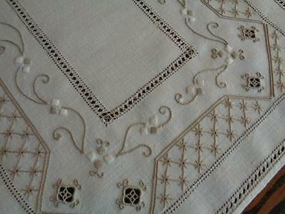 Set 8 Antique ITALIAN Reticella Lace Linen Placemats & Napkins Hand Embroidered