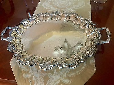 Ornate Footed Silver Serving Tray with Handles Vintage Oval Claw feet