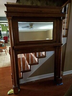 Antique Oak Full Size Fireplace Mantle