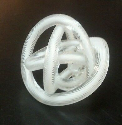Blown Glass Knot Rope Paperweight Sculpture White & Clear