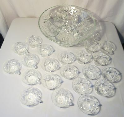 Anchor Hocking EAPC Early American Prescut Star of David 23 Piece Punch Bowl Set