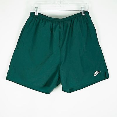 Vintage Nike Air Mesh Lined Green Swim Trunks Mens L Spellout