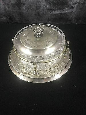 Roberts And Belk Of Sheffield Silver Tray With Glass Bowl