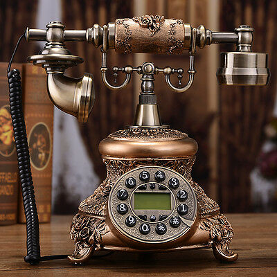 Metal Carved luxury retro European Antique phone Vintage corded telephone F050