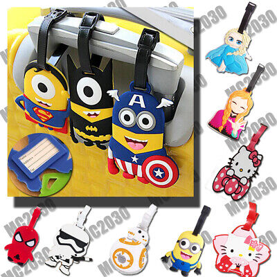 3D Minion Cartoon school bag ID Tags Luggage Suitcase Name Address Tags Holder