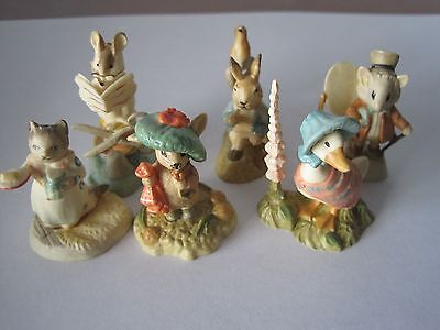 Vintage LOT of 6 F Warne BEATRIX POTTER  Figurines - Made In Italy