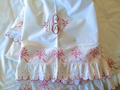 2 Pink Embroidered Egyptian Cotton Sheets w. 2 Matching Pillow Cases Vintage