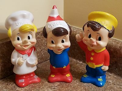 "Vintage Kellogg's Rice Krispies SNAP CRACKLE POP 8"" Vinyl Doll Set"