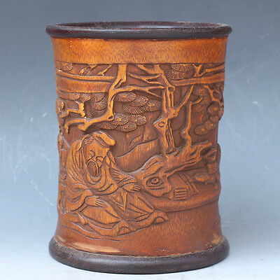 Chinese Exquisite Hand-carved character landscape Carving bamboo Pen holder