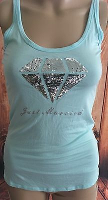Victoria Secret Blue Diamond I Do Just Married Bride Tank Top Wedding Bridal M