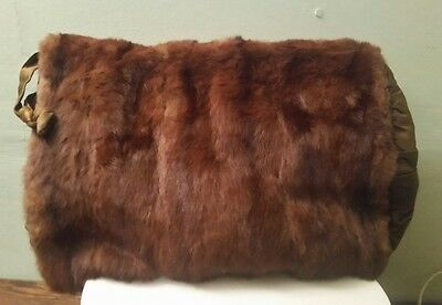 Vintage Real Fur Genuine Mink Muff Hand Warmer with Silk Lining
