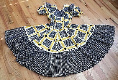 Vintage Western Fashions Denver Square Dance Dress Girls Size 10 Black Yellow