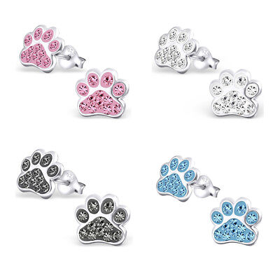 925 Sterling Silver Crystal Cat Dog Paw Print Stud Earrings Kids Women Jewellery