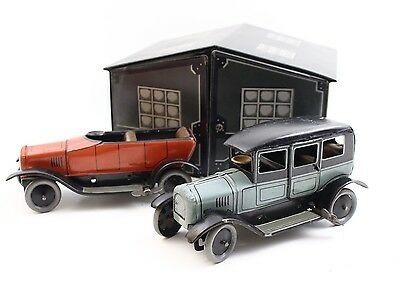 Bing Limousine & Open Tourer Garage Set ca. 1930s German Tin Windup Cars RARE