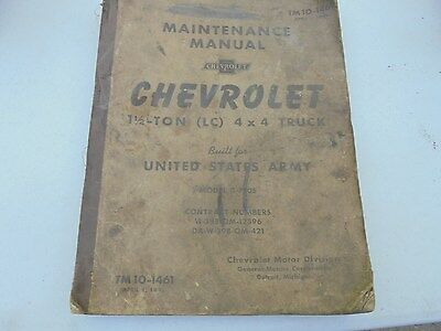 Vintage Chevrolet 1 and 1/2 ton 4 x 4 U. S. Army Truck Maintenance Manual