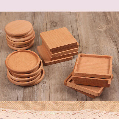 1Pc Square Round Wooden Beech Drinks Tea Coffee Cup Beverages Glass Drink Mat