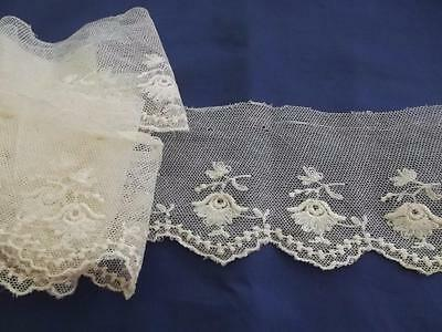 "3 Yards 3"" Wide Antique Lace Brussels Embroidered Flowers Cotton Net Trim"