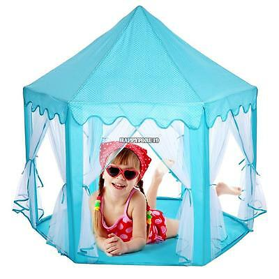 Portable Folding Tent Play Kids Pop Up Tent Girl Princess Castle House Blue
