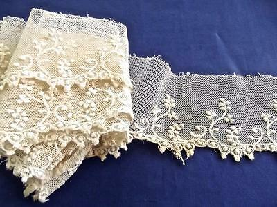 """2.5 Yards 2"""" Wide Antique Brussels Lace Delicate Embroidered Cotton Net Trim"""