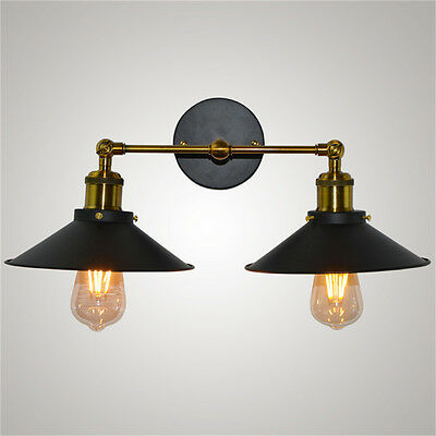 Vintage Industrial Retro Dual Shade Metal Sconce Rustic Wall Light Lamp Decor
