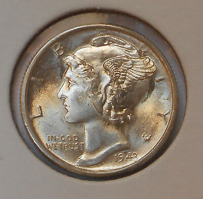 1943-s . Mercury Dime . . Choice/Gem BU . . MS . Nearly Full Bands