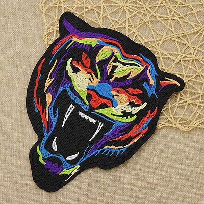 Large Tiger Head Embroidered Tattoo Style Embroidered Patch Applique Iron On Sew