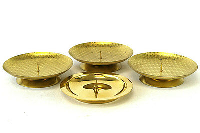 Gold Tone Star Covered Tin Candle Holders - Set of 4 - Made In West Germany