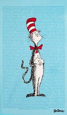 The Cat in the Hat Flannel Patchwork Fabric Panel Blue, Dr Seuss,