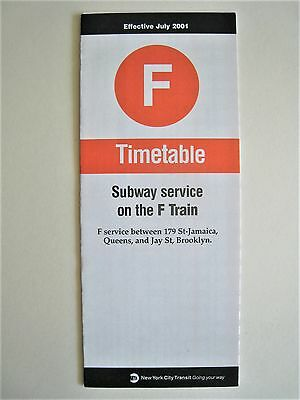 July 2001 F Train Subway Timetable Schedule Guide Brochure New York City NYC