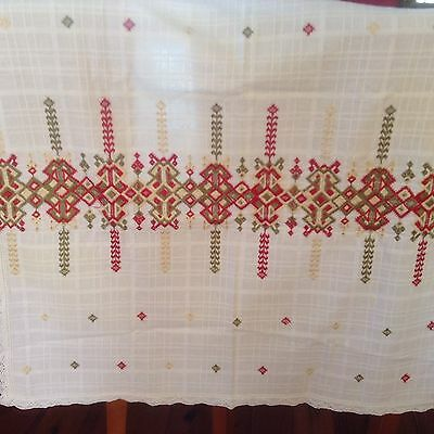 Vintage Embroidered Tablecloth Cotton Cream Red And Green Square Cut