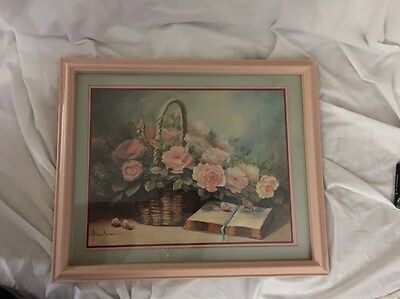Home Interior by Margie Morrow Basket w pink roses & bible open NIB 1732 AC