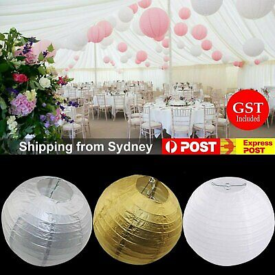 10Pcs 20/30/40cm Gold Silver White Paper Lanterns Party Chinese Birthday Wedding