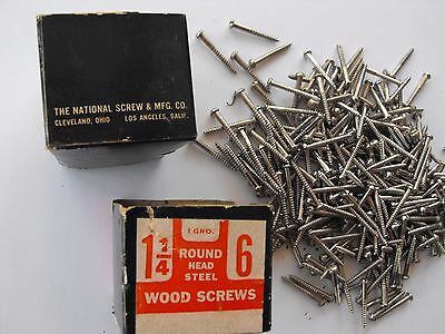 "Vintage Box Of National Screw & Mfg. Company 1 1/4"" #6 Round Head Wood Screws"
