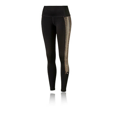 Puma Everyday Train Womens Black Gold Fitness Long Tights Bottoms Pants