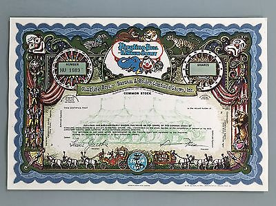 Ringling Brothers Barnum Bailey Specimen Stock Certificate Mint Uncirculated