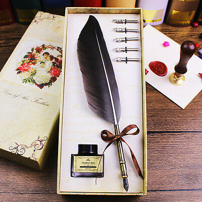 Black Antique Quill Feather Dip Pen Writing Sepia Ink Bottle Gift Box w/ 5 Tips