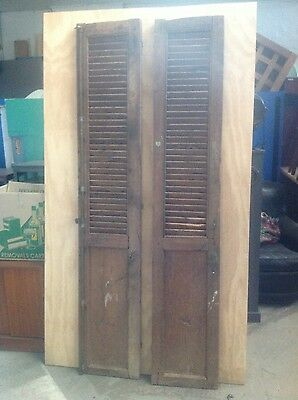 wooden shutters French antique vintage pair SALE PRICE