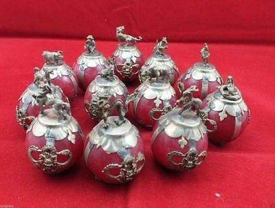 Chinese Tibetan silver Red Jade carving Zodiac statue collection 12pc