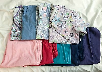Lot Of Women's Medical Nurse Dental Scrubs 4 Tops 5 Bottoms Size Small