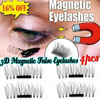 False Eyelashes Natural Eye Lashes Extension Handmade 4 Pcs/1 Pair 3D Magnetic