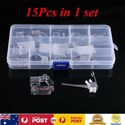 15Pcs Domestic Sewing Machine  Presser Foot Kit For Janome Brother Singer