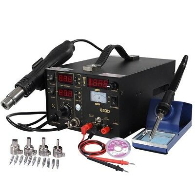 853D Iron Soldering Station 3in1 Rework SMD Solder Hot Air Gun & DC Power Supply