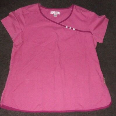Women's XL Pink Koi Short Sleeve Scrub/Uniform Top