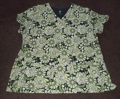 Women's 3XL Blue & Green Floral MC2 Short Sleeve Scrub/Uniform Top