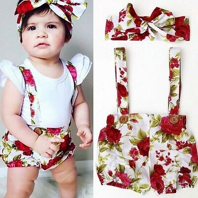 Baby Girl Kids Floral Shorts Overalls Pants + Bow Headband Summer Outfits 6M-3Y